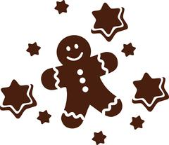 Gingerbread man with cookie stars - stock illustration