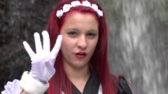 Cosplay Girl Hand Gestures Stock Footage