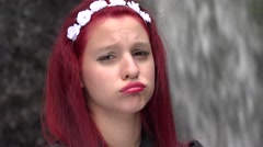 Sad And Depressed Cosplay Girl Stock Footage