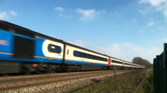 East Midlands High Speed train on the Midland mainline in Northamptonshire. - stock footage