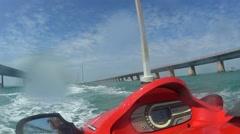 POV Jet Ski Ride On The Ocean Stock Footage