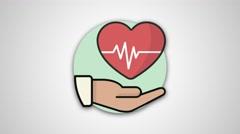 4K - Health and hand icon round logo symbol Stock Footage