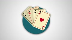 4K - Aces poker hand round icon logo symbol - stock footage