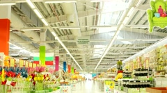 Browse a huge supermarket a fast motion video time lapse hyper lapse. Stock Footage