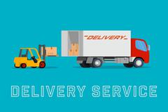 Delivery truck with forklift loading box into the car - stock illustration
