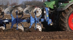 Plowing arable field - close up Stock Footage