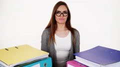 woman with stack of folders documents bills 4K - stock footage