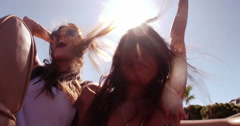 Teenager female friends happy for a road trip Stock Footage