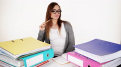 Woman with stack of folders documents bills 4K Stock Footage