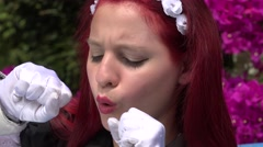 Stock Video Footage of Cosplay Female Redhead Acting Silly