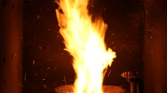 The fire in the furnace. Heating system. Solid fuel boiler. Open fire. Stock Footage