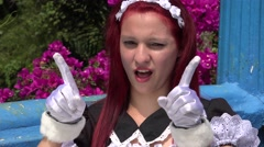 Adorable Cut Cosplay Girl Stock Footage