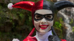 Pretty Cosplay Jester Girl Stock Footage