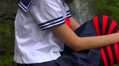 Girl Wearing Japanese Cosplay Outfit Stock Footage
