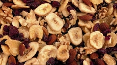 Fruit And Nut Mix Rotating Closeup Stock Footage