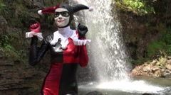 Dancing Female Cosplay Jester Stock Footage