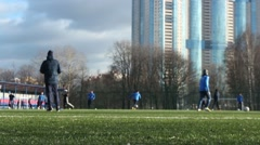 Young footballers training Stock Footage