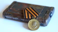 4K Soviet Military Medal - stock footage