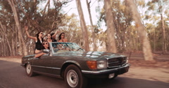Teenager friends raising arms to celebrate their summer road trip - stock footage
