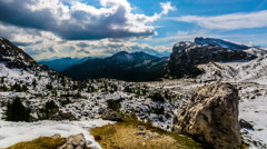 Beautiful view of Dolomite Mountain, Northen Italy, 4k timelapse video. Stock Footage