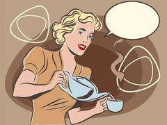 The waitress pours tea pastel retro colors - stock illustration