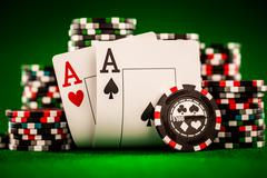 chips and two aces - stock photo