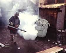 Rubbish / Trash Being Fumigated During Sanitation Dispute / Strike (1980s) Stock Footage