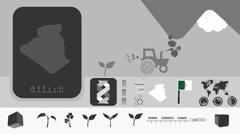 Algeria - Agriculture - Vector Animation - black - stock footage