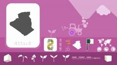Algeria - Agriculture - Vector Animation - purple - stock footage