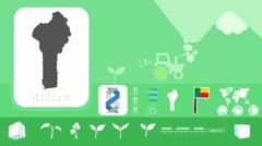 Benin - Agriculture - Vector Animation - green Stock Footage