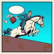 Businessman horseman on horse jumps over barrier Stock Illustration