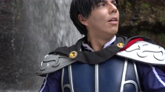 Heroic Prince In Cosplay Costume Stock Footage