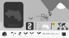 Guinea - Agriculture - Vector Animation - black Stock Footage
