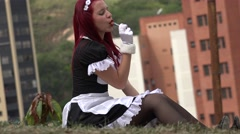 Happy Teen Cosplay Girl With Candy Stock Footage