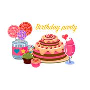 Birthday Party Sweets Collection - stock illustration