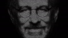Steven Spielberg Face Made with Numbers Running Stock Footage