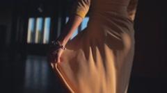 Rear View of Arabian Eastern Woman Shaking Dress Stock Footage