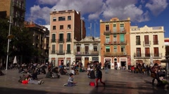 Square Del Sol panorama at sunny february weekend, citizens rest around area Stock Footage
