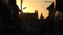 Busy shopping street, silhouette at sunset, northern Nicosia Cyprus Stock Footage