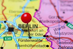 Furstenwalde pinned on a map of Germany - stock photo