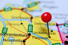 Pasewalk pinned on a map of Germany - stock photo