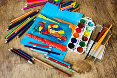 Children's creativity on the table - stock photo