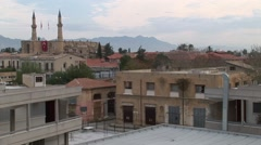 High perspective of UN buffer zone, Nicosia Green Line looking north Stock Footage