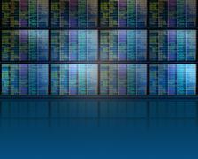 Set of monitors with matrix - stock illustration