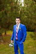 The groom in an expensive gray suit Stock Photos