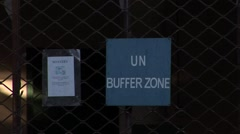 Nicosia Cyprus - United Nations bunker at Paphos Gate, zoom out - stock footage