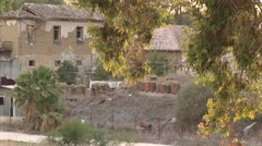 Nicosia Cyprus Green Line border zone - army bunkers, house ruins - stock footage