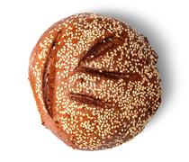 Rye bread with sesame seeds top view - stock photo