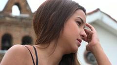 Apathetic Young Hispanic Woman Stock Footage