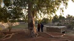Nicosia Green Line - tourists photograph no mans land buffer zone - stock footage